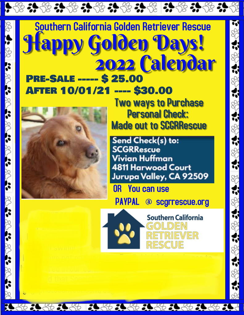Pre-Sale pricing – Happy Golden Days 2022 Calendar by 10/1/2021 – Order today!